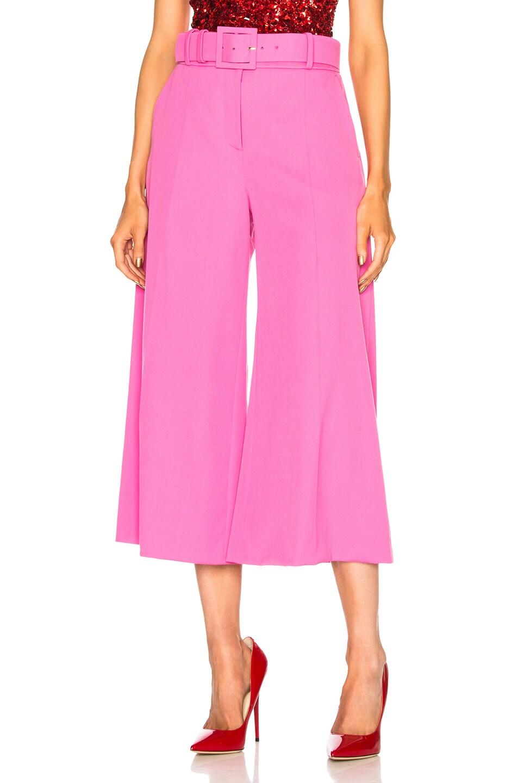Image 1 of Oscar de la Renta Cropped Wide Leg Trousers in Pink
