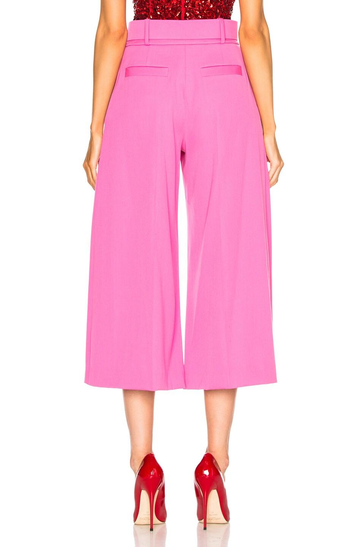 Image 3 of Oscar de la Renta Cropped Wide Leg Trousers in Pink