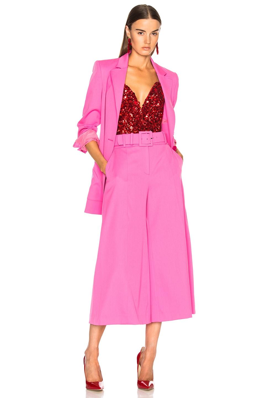 Image 4 of Oscar de la Renta Cropped Wide Leg Trousers in Pink