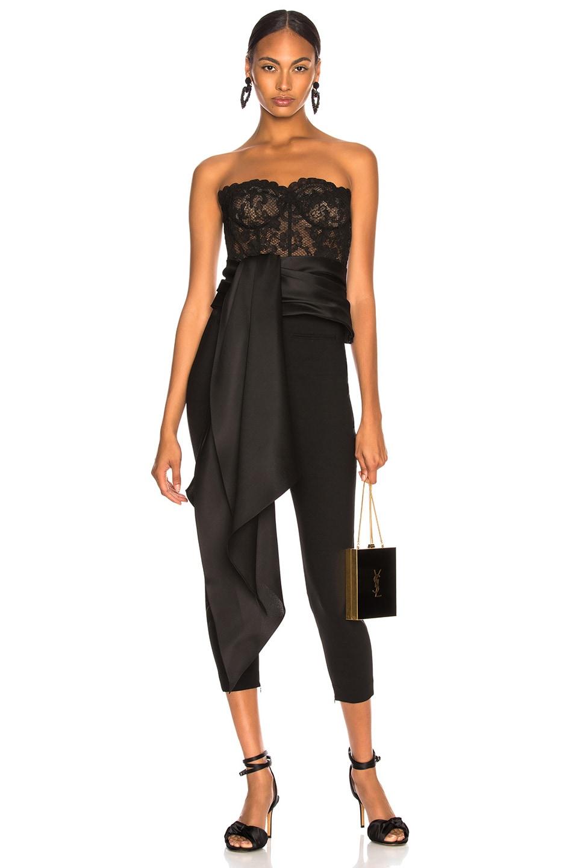 Image 1 of Oscar de la Renta Asymmetric Hem Strapless Lace Bustier in Black & Black