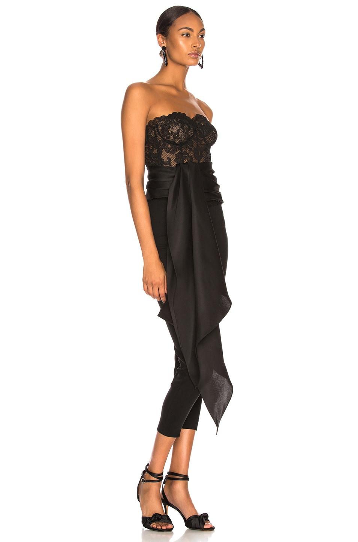 Image 2 of Oscar de la Renta Asymmetric Hem Strapless Lace Bustier in Black & Black