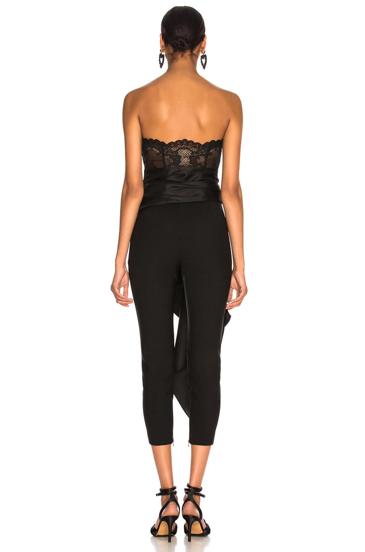 Image 3 of Oscar de la Renta Asymmetric Hem Strapless Lace Bustier in Black & Black