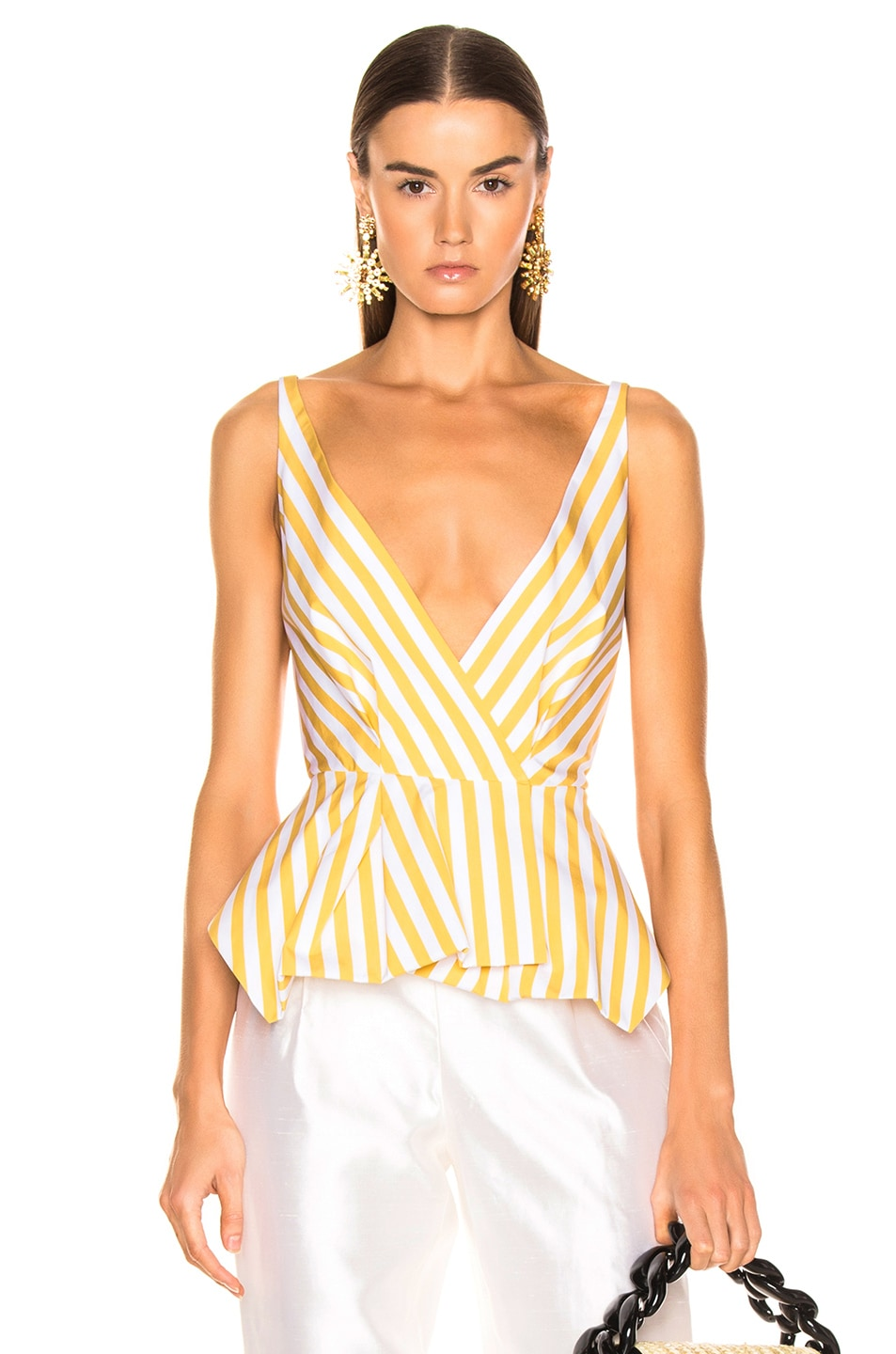 Image 1 of Oscar de la Renta Striped Peplum Top in Ochre