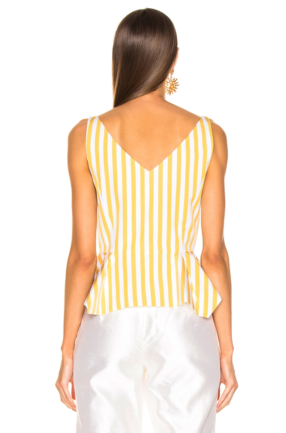Image 3 of Oscar de la Renta Striped Peplum Top in Ochre