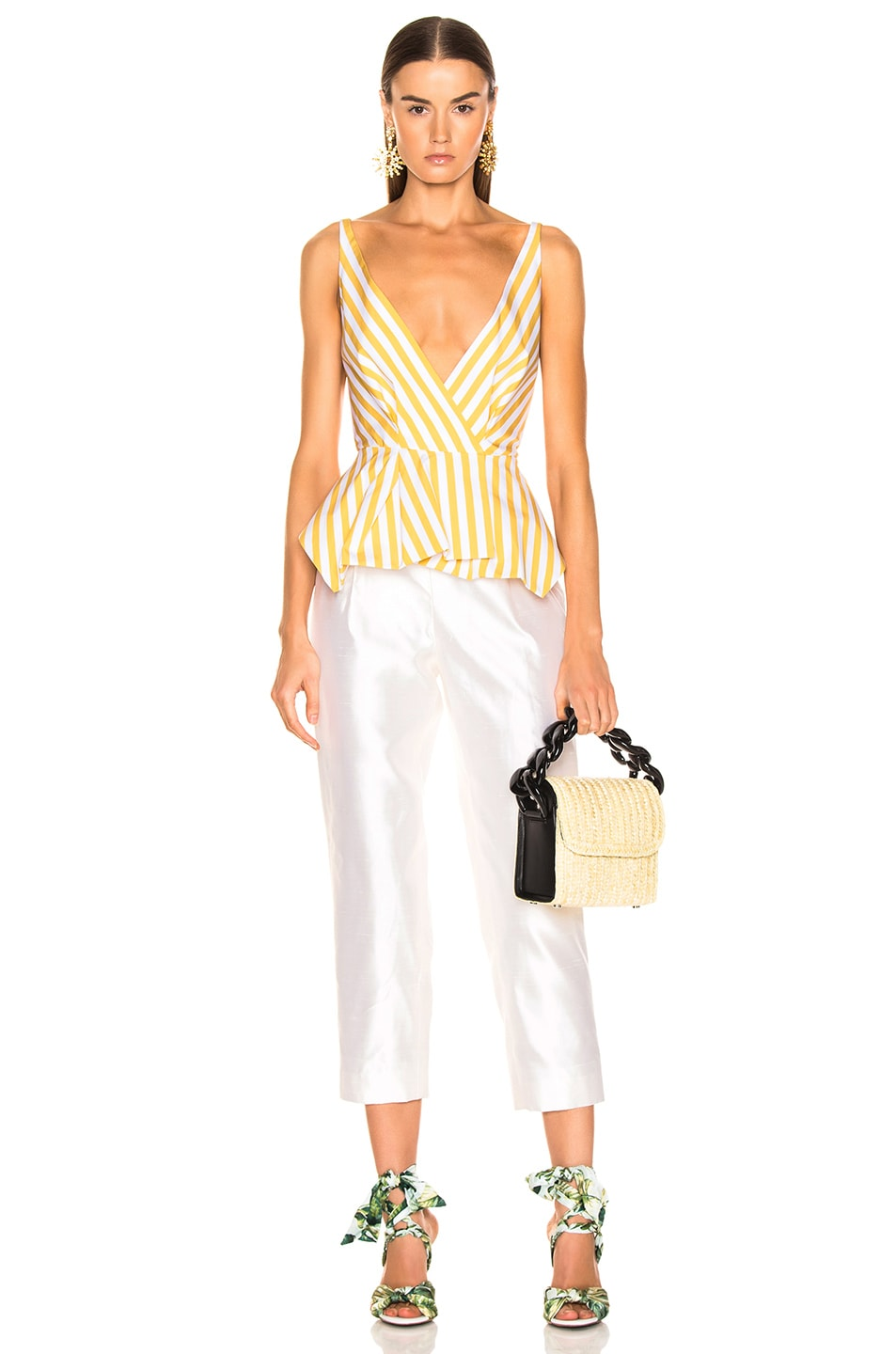 Image 4 of Oscar de la Renta Striped Peplum Top in Ochre
