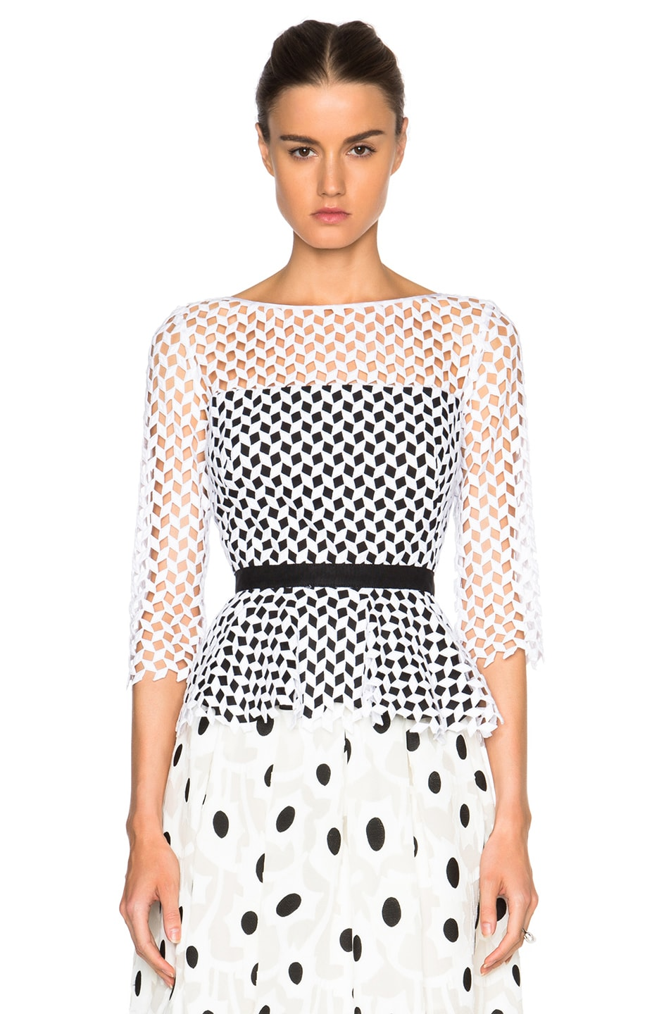 Image 1 of Oscar de la Renta Mesh Peplum Blouse in Black & White