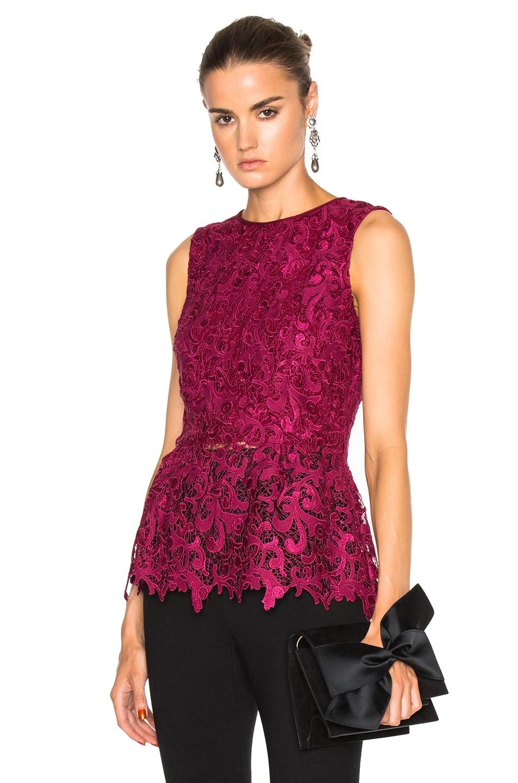 Image 1 of Oscar de la Renta Sleeveless Lace Blouse in Wine