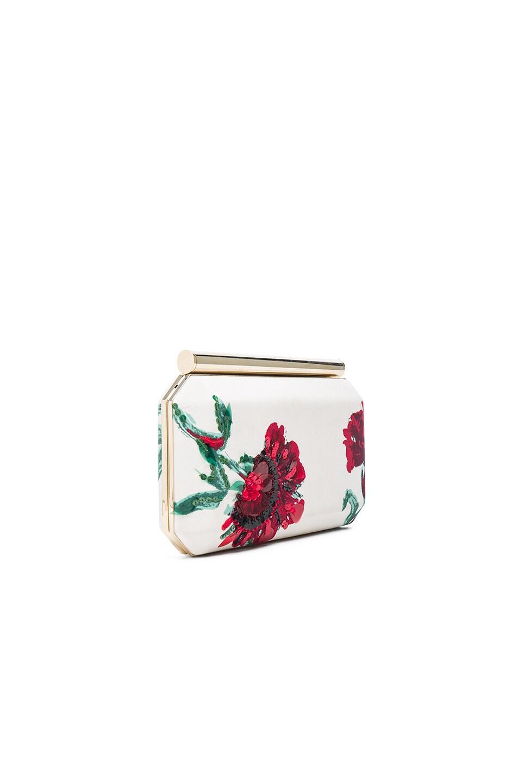 Oscar De La Renta Brodé Satin Saya Embrayage En Blanc, Floral, Rouge