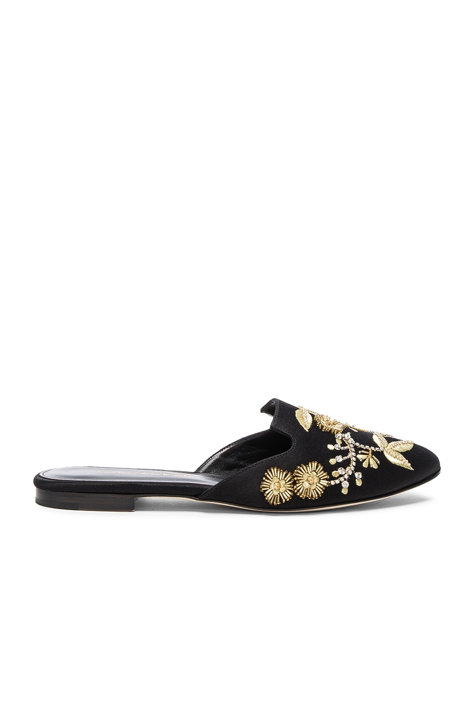 Image 1 of Oscar de la Renta Satin Wanda Flats in Black