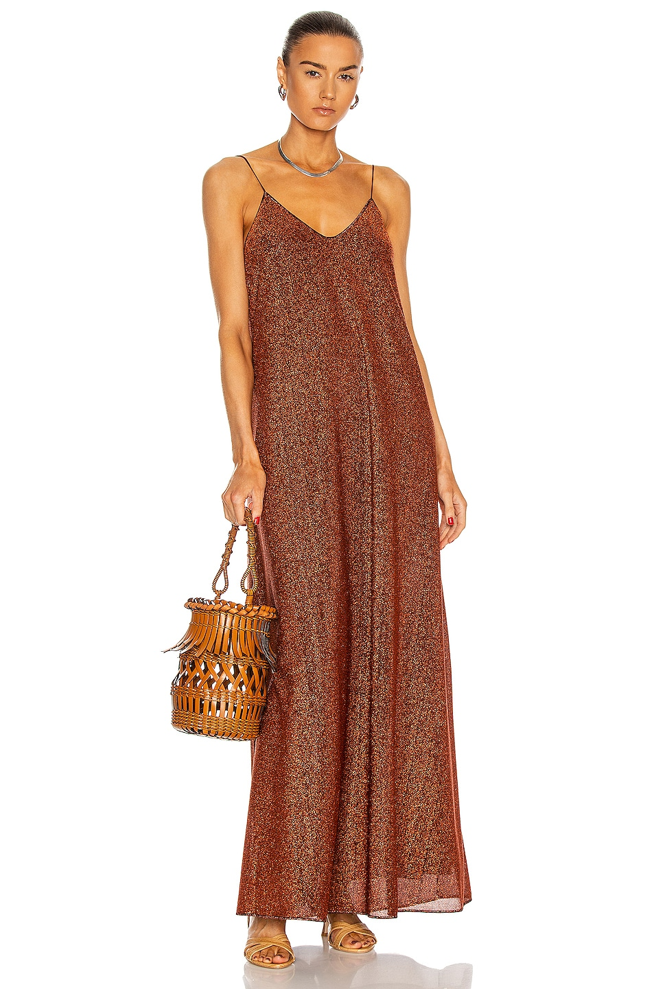 Image 1 of Oseree Lumiere Long Dress in Brown