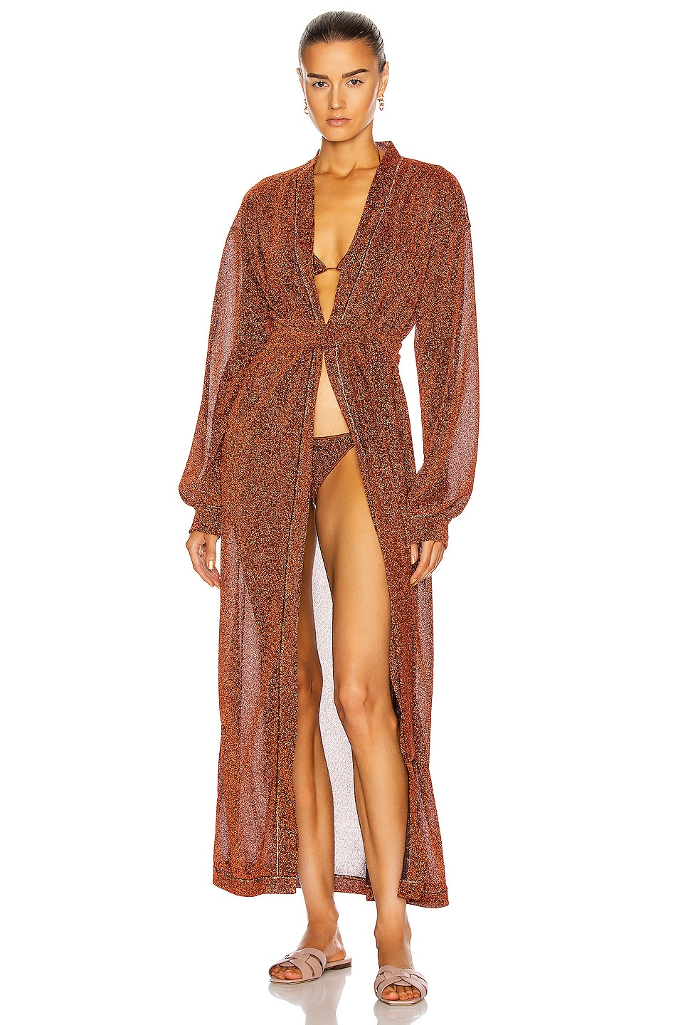 Image 1 of Oseree Lumiere Long Kaftan in Brown