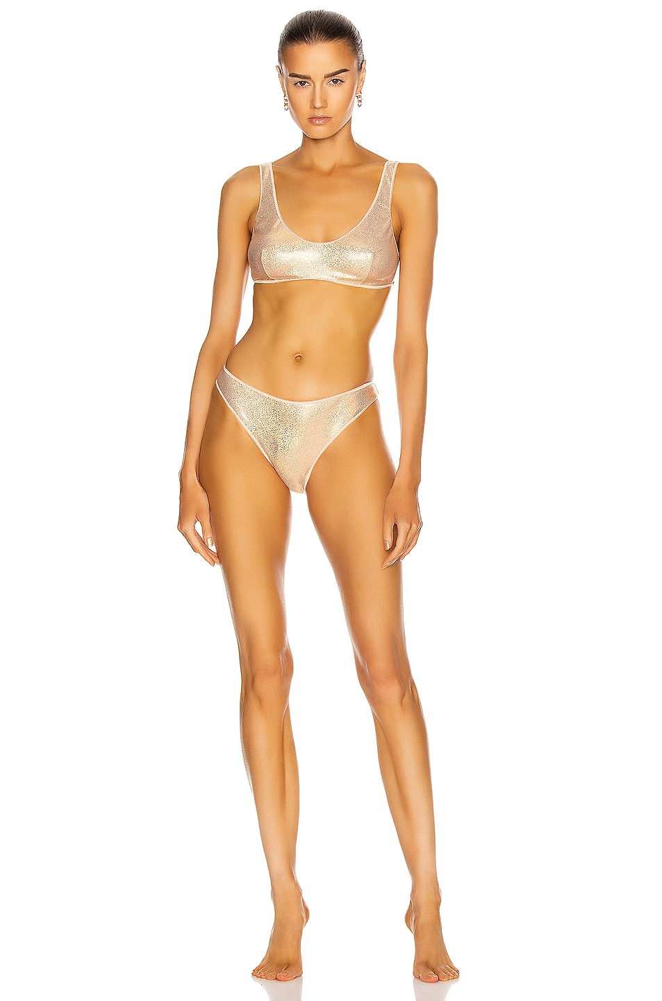 Image 1 of Oseree Metallic Sporty Two Piece in Nude