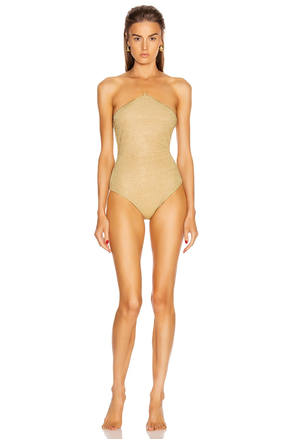 Image 1 of Oseree Neckless Maillot Swimsuit in Gold