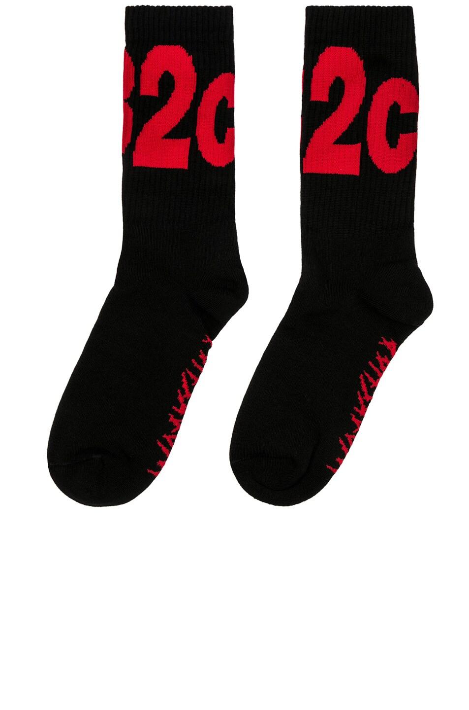 Image 1 of 032c BMC Socks in Black & Red