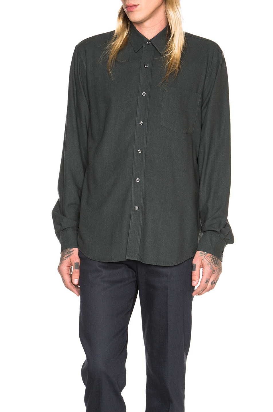 6ef0e8e2402236 Image 1 of Our Legacy Classic Silk Shirt in Green