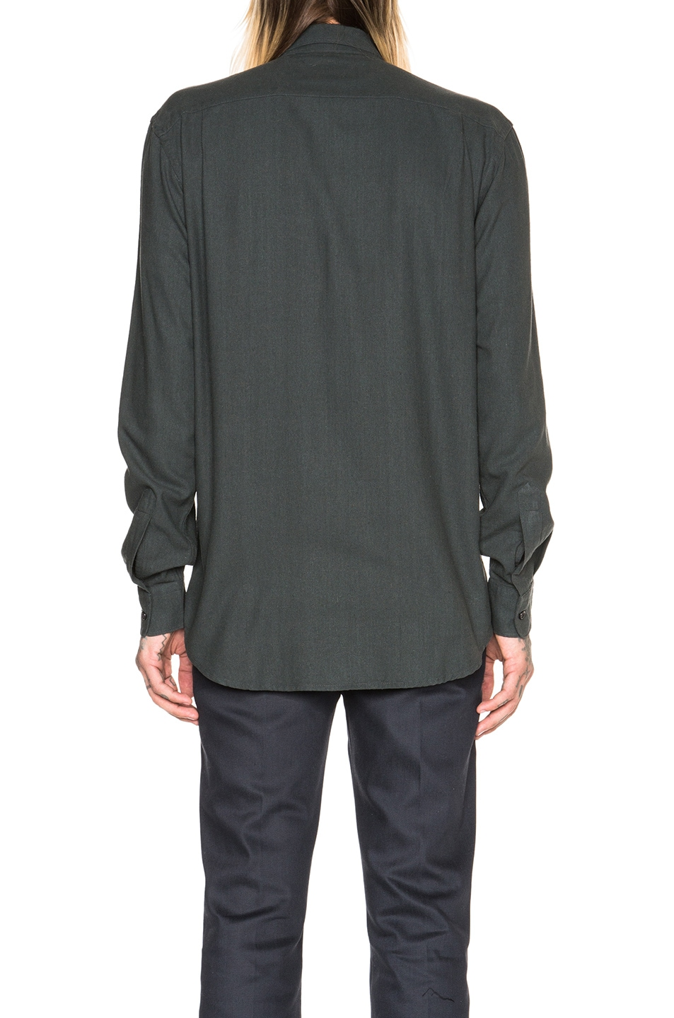 532e19efdcbd92 Image 4 of Our Legacy Classic Silk Shirt in Green
