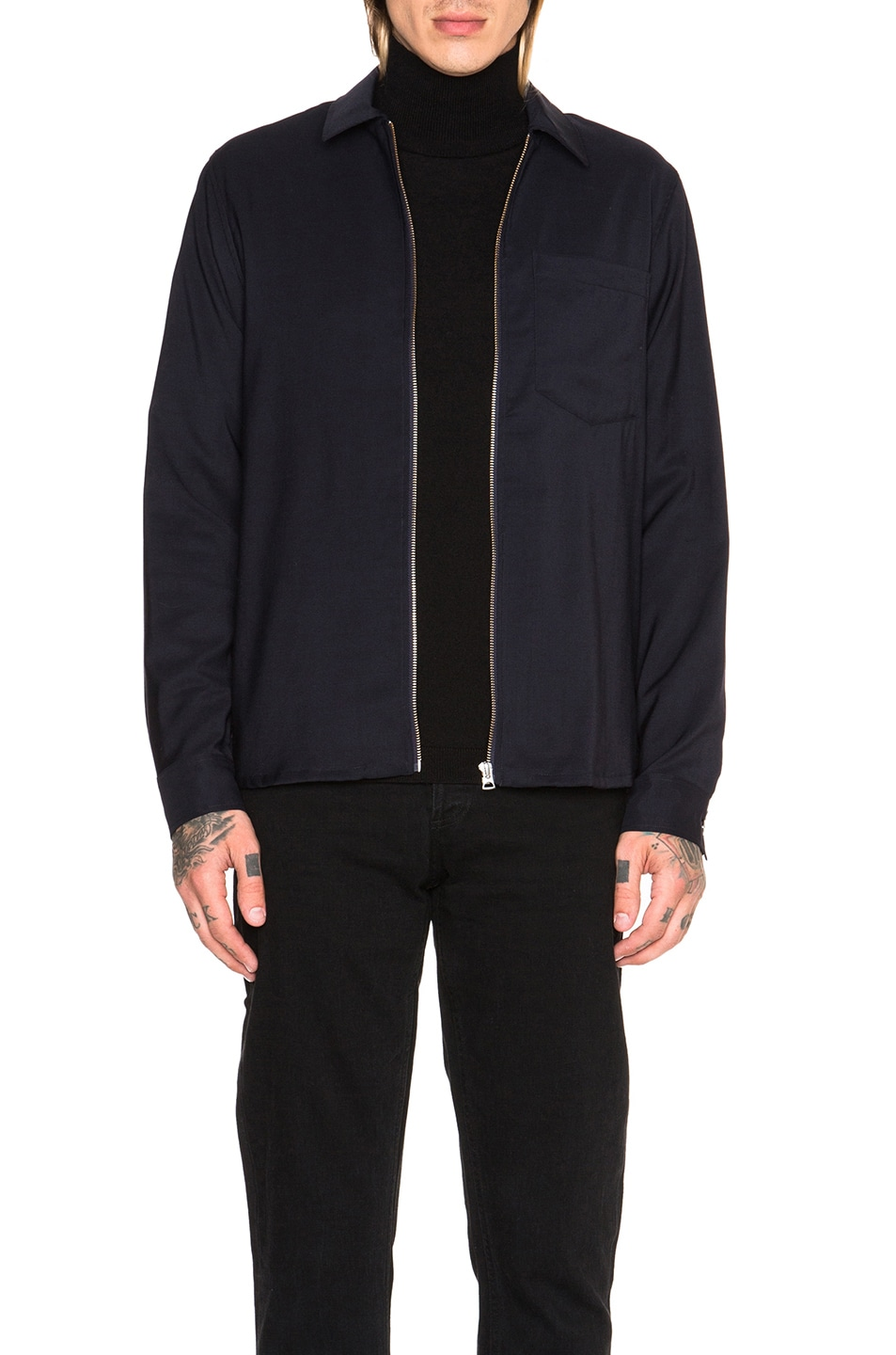 Image 1 of Our Legacy Dry Wool Satin Shirt Jacket in Navy
