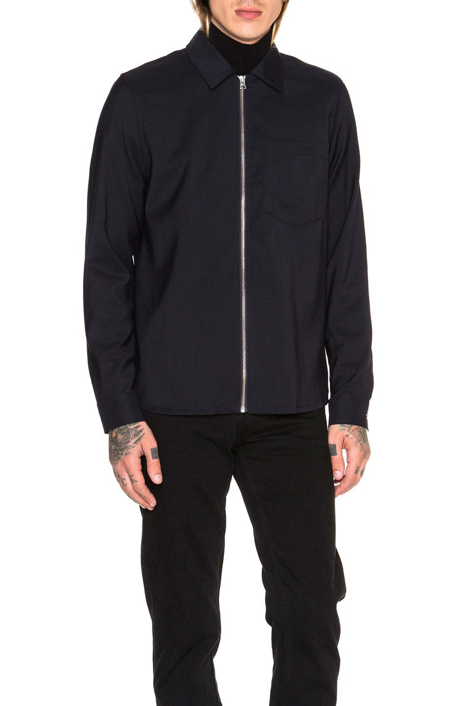 Image 2 of Our Legacy Dry Wool Satin Shirt Jacket in Navy