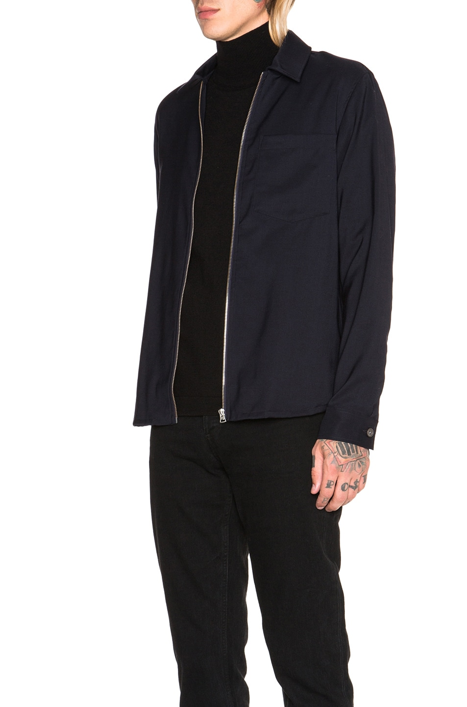 Image 3 of Our Legacy Dry Wool Satin Shirt Jacket in Navy