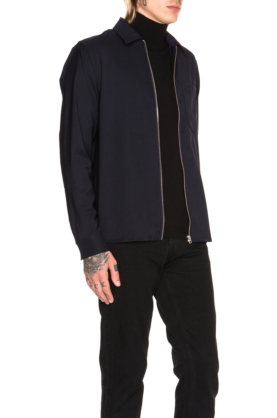 Image 4 of Our Legacy Dry Wool Satin Shirt Jacket in Navy