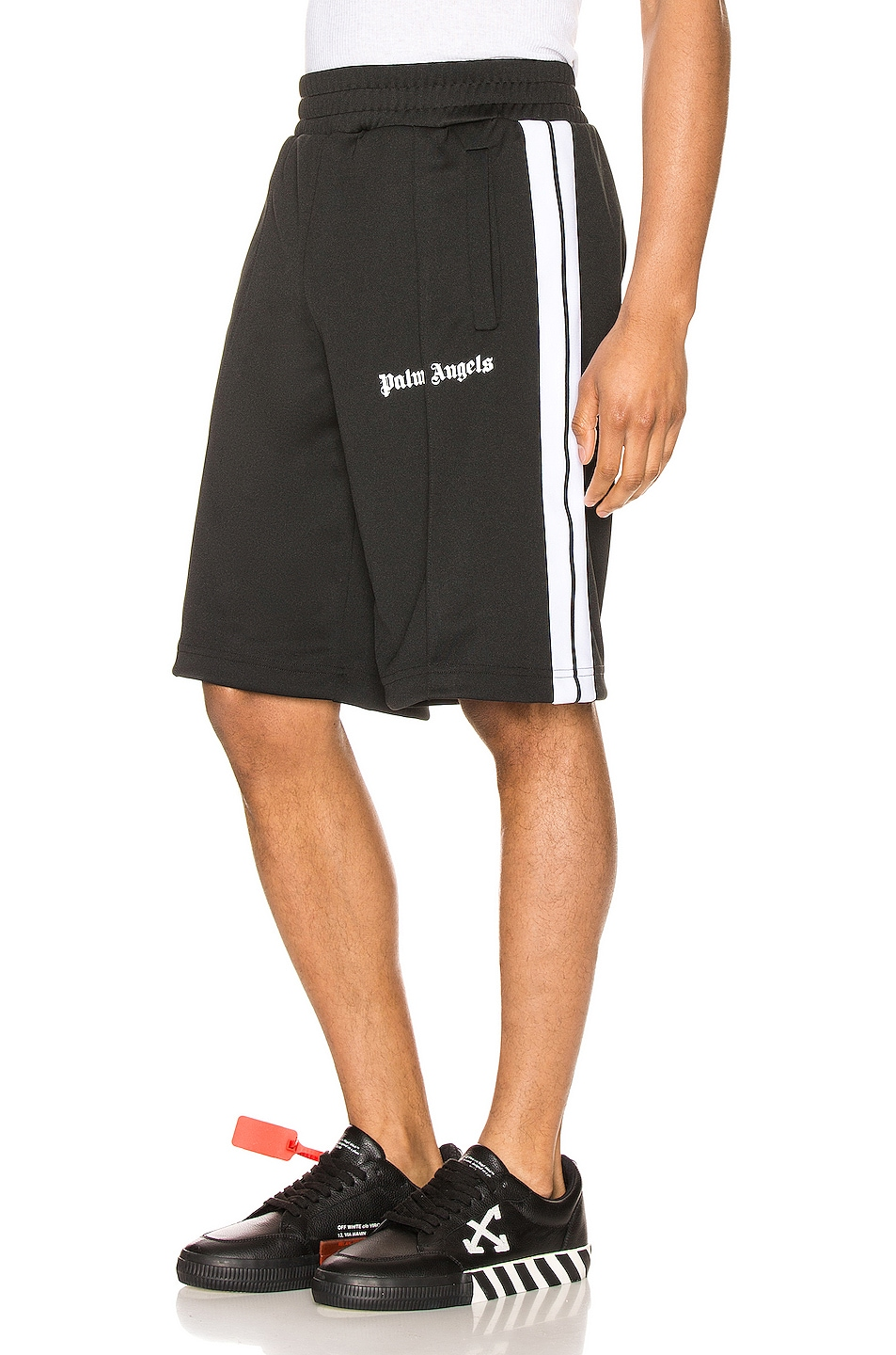 Image 1 of Palm Angels Track Shorts in Black & White