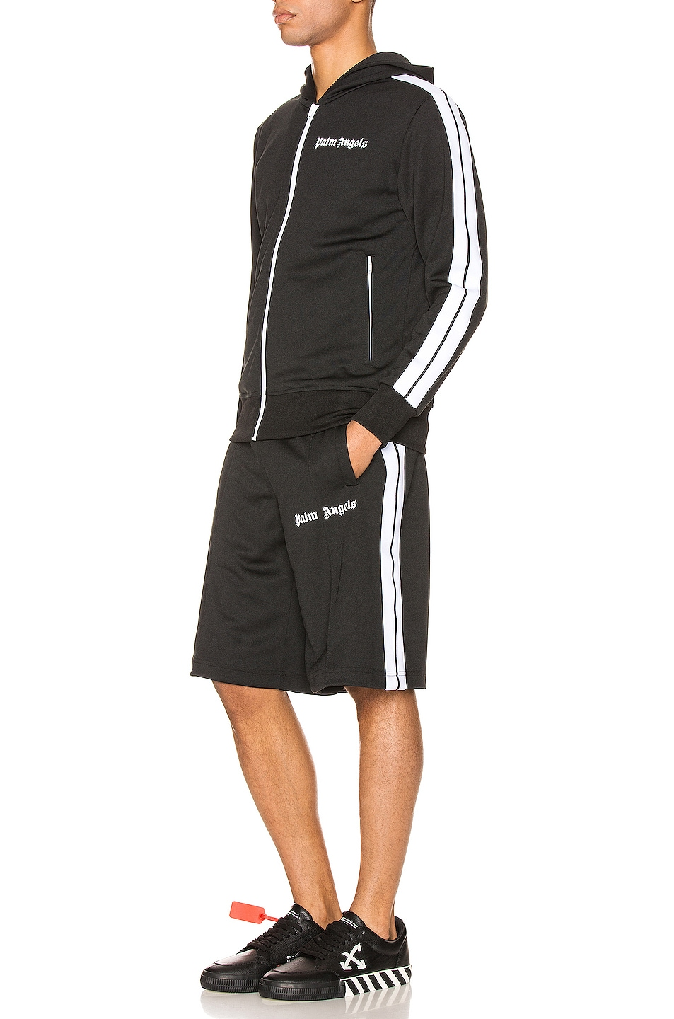 Image 5 of Palm Angels Track Shorts in Black & White