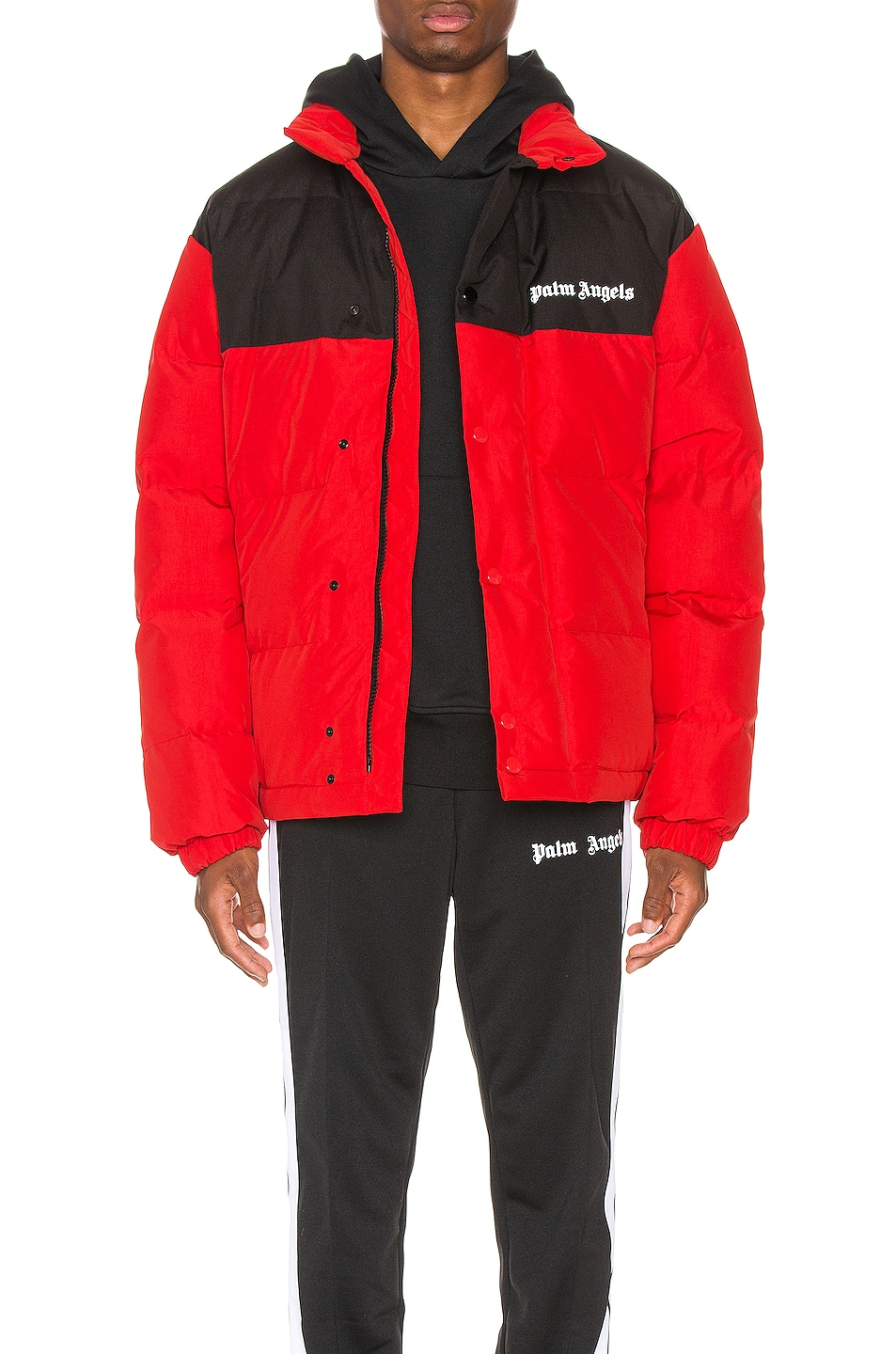 Image 1 of Palm Angels Down Track Jacket in Red & White