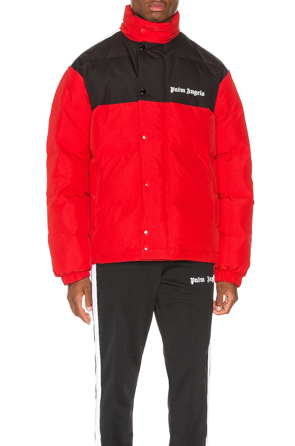 Image 2 of Palm Angels Down Track Jacket in Red & White