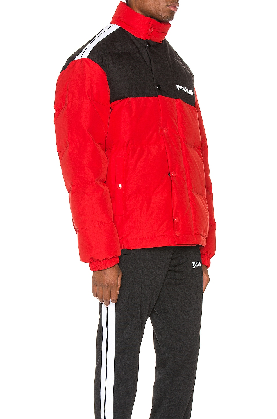 Image 3 of Palm Angels Down Track Jacket in Red & White