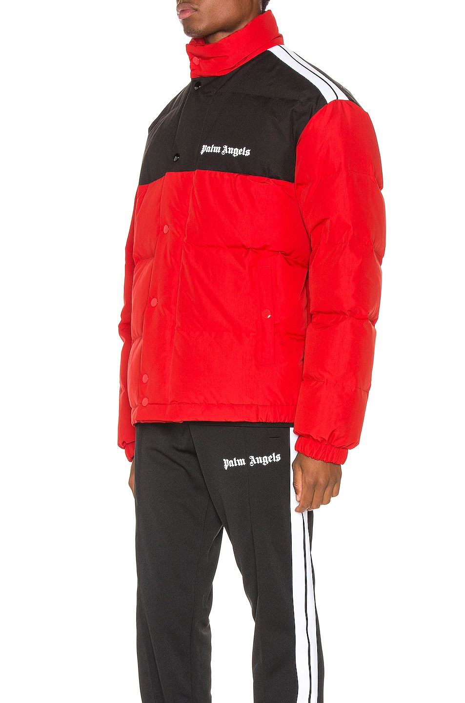 Image 4 of Palm Angels Down Track Jacket in Red & White