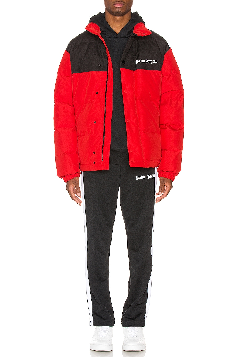 Image 6 of Palm Angels Down Track Jacket in Red & White