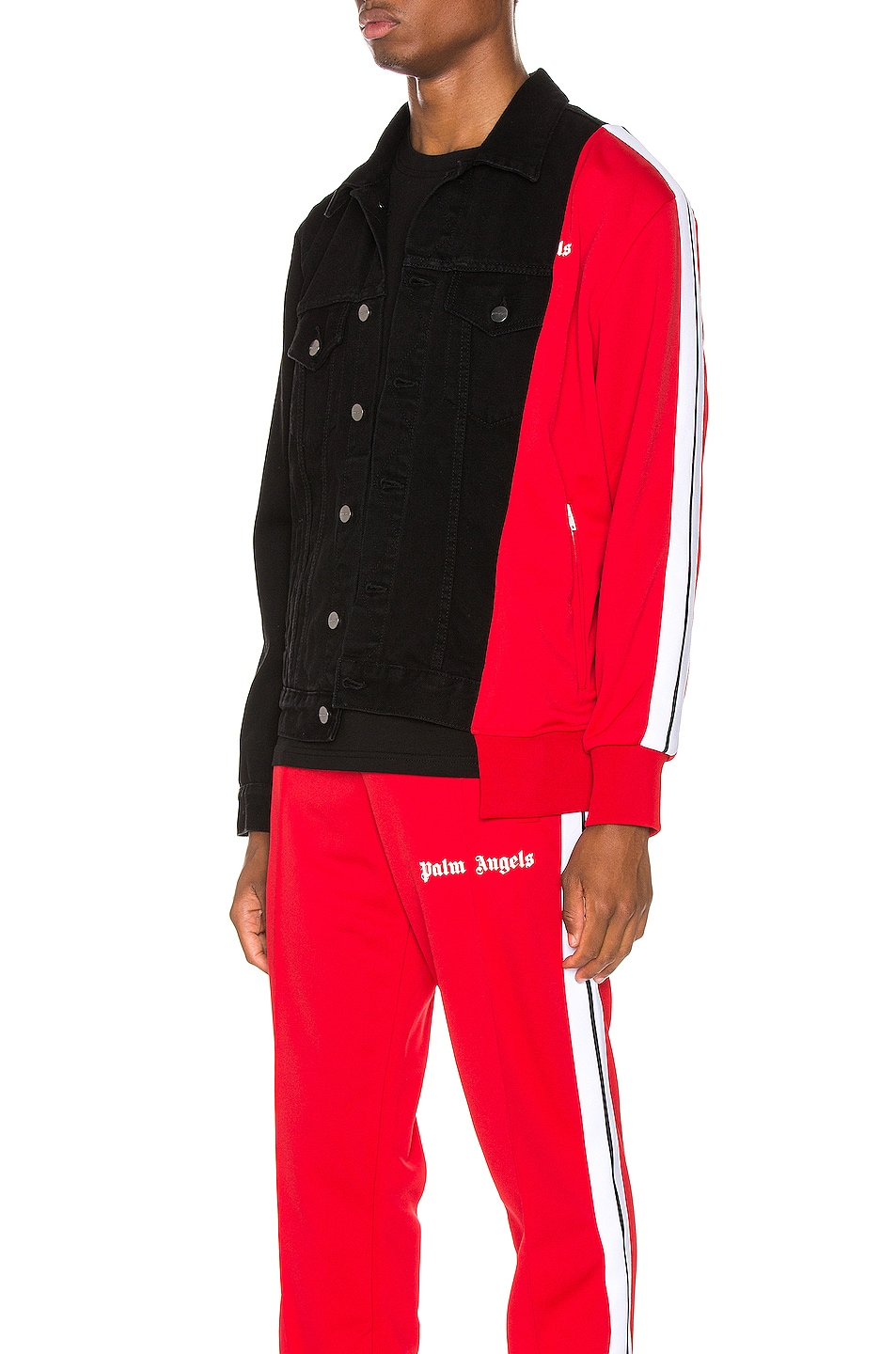 Image 4 of Palm Angels Bold Track Trucker Jacket in Black & Red