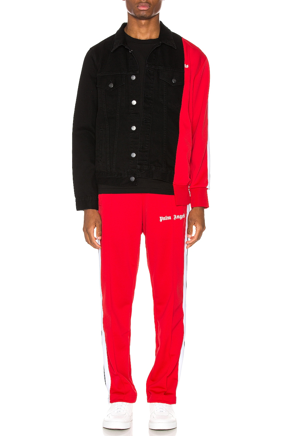 Image 6 of Palm Angels Bold Track Trucker Jacket in Black & Red