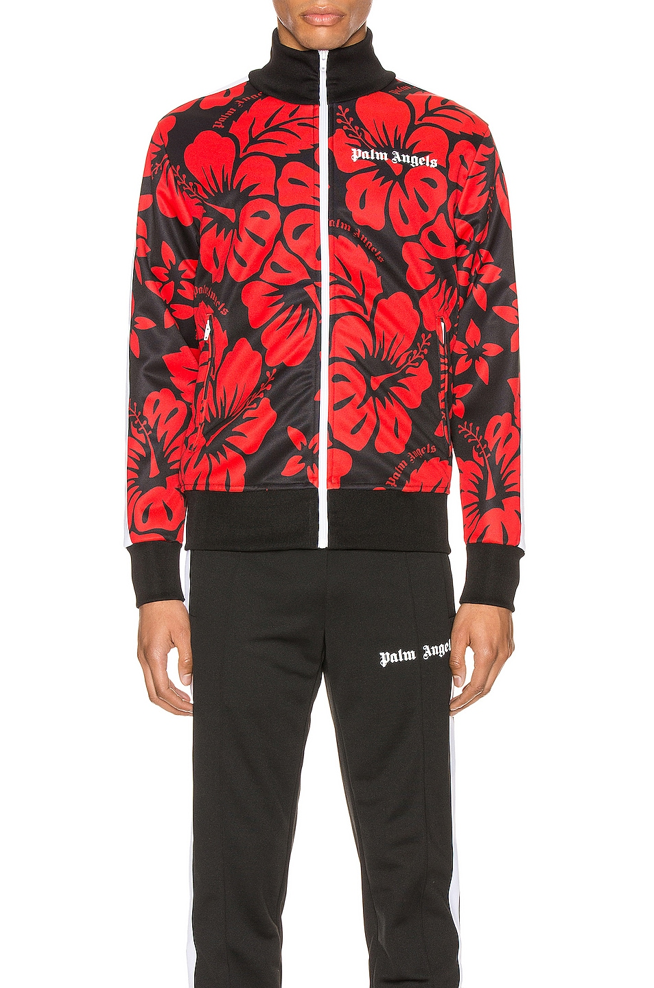 Image 2 of Palm Angels Hawaiian Track Jacket in Black & Red