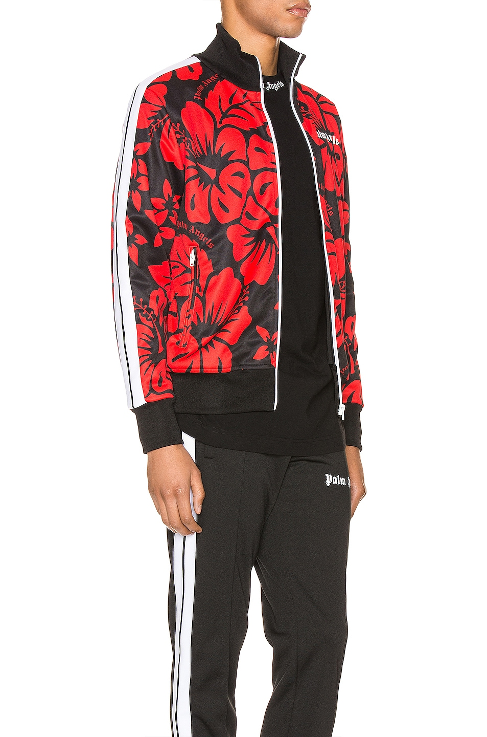 Image 3 of Palm Angels Hawaiian Track Jacket in Black & Red