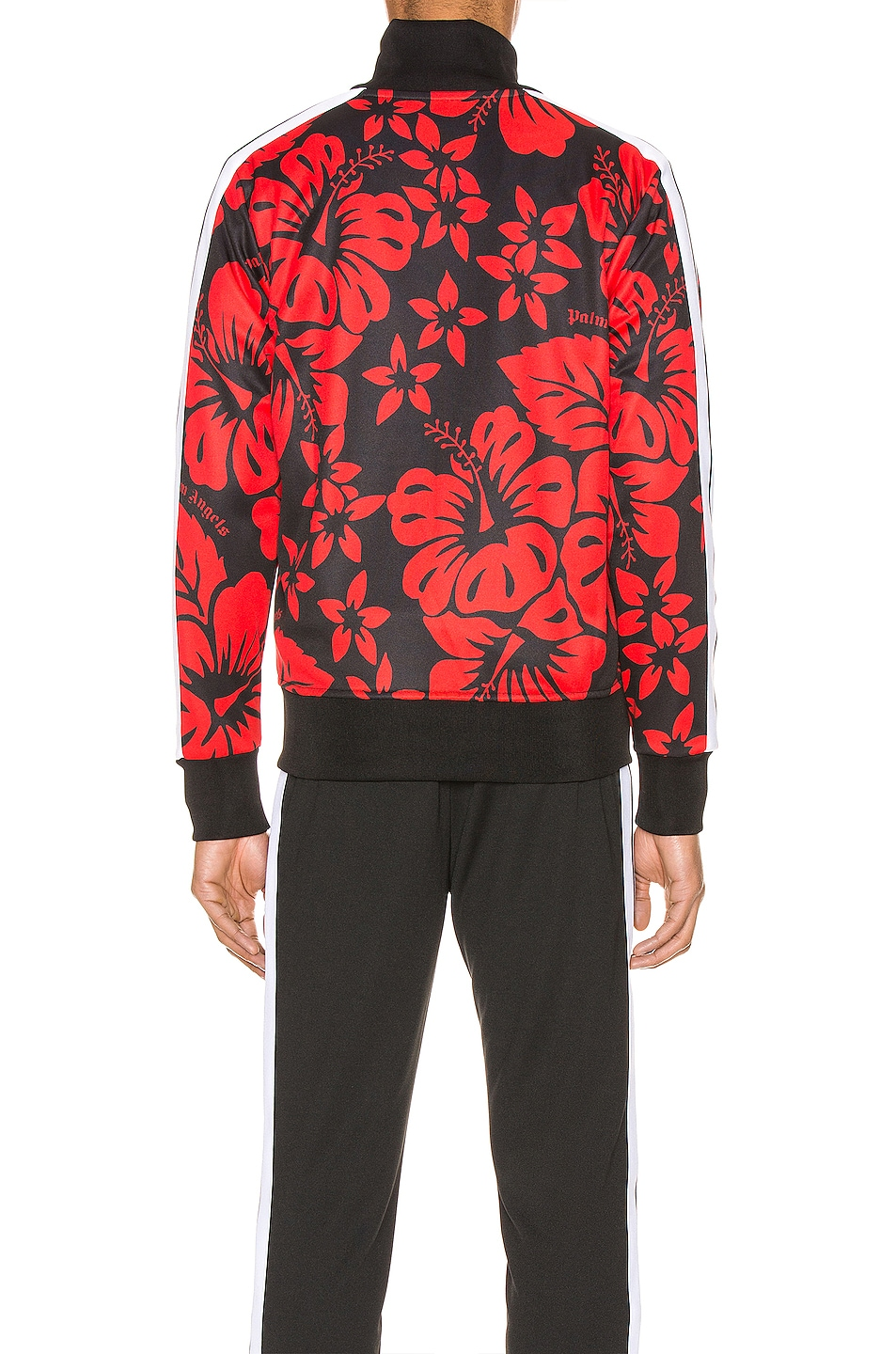 Image 4 of Palm Angels Hawaiian Track Jacket in Black & Red