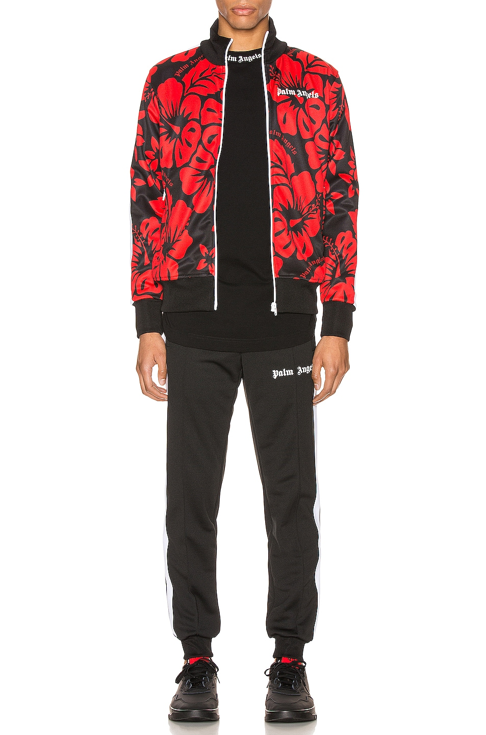 Image 5 of Palm Angels Hawaiian Track Jacket in Black & Red