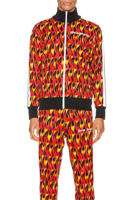 Image 2 of Palm Angels Burning Track Jacket in Black & Multi