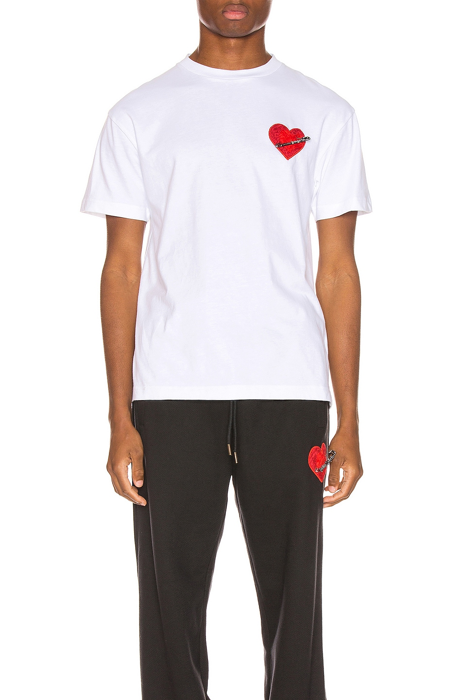 Image 1 of Palm Angels Pin My Heart Tee in White & Multi