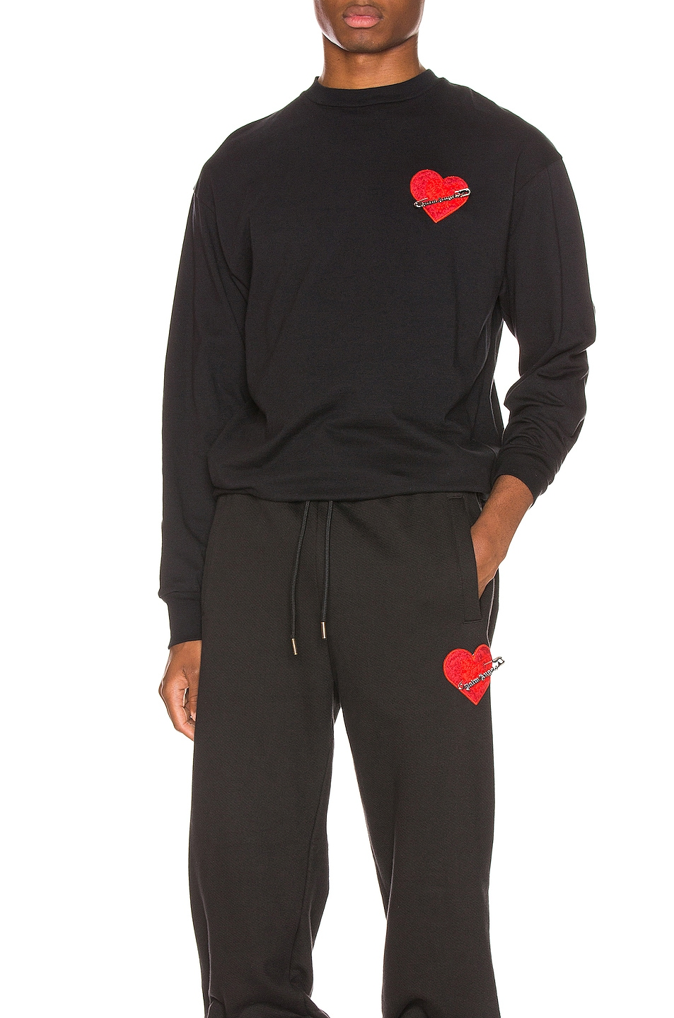 Image 1 of Palm Angels Pin My Heart Long Sleeve Tee in Black & Multi