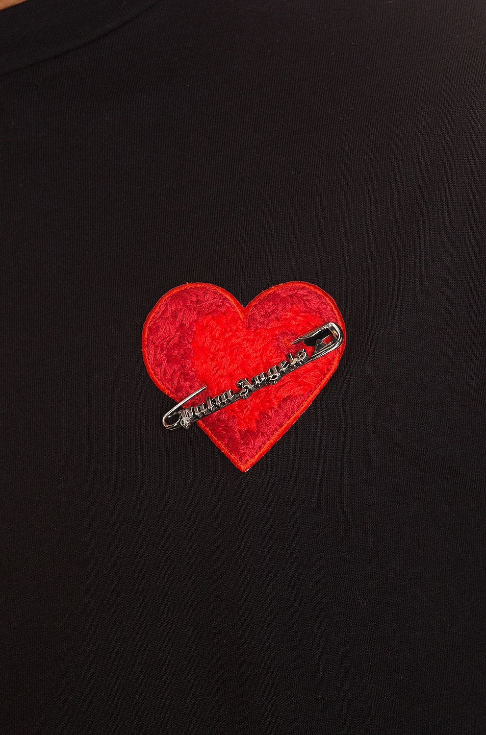 Image 6 of Palm Angels Pin My Heart Long Sleeve Tee in Black & Multi