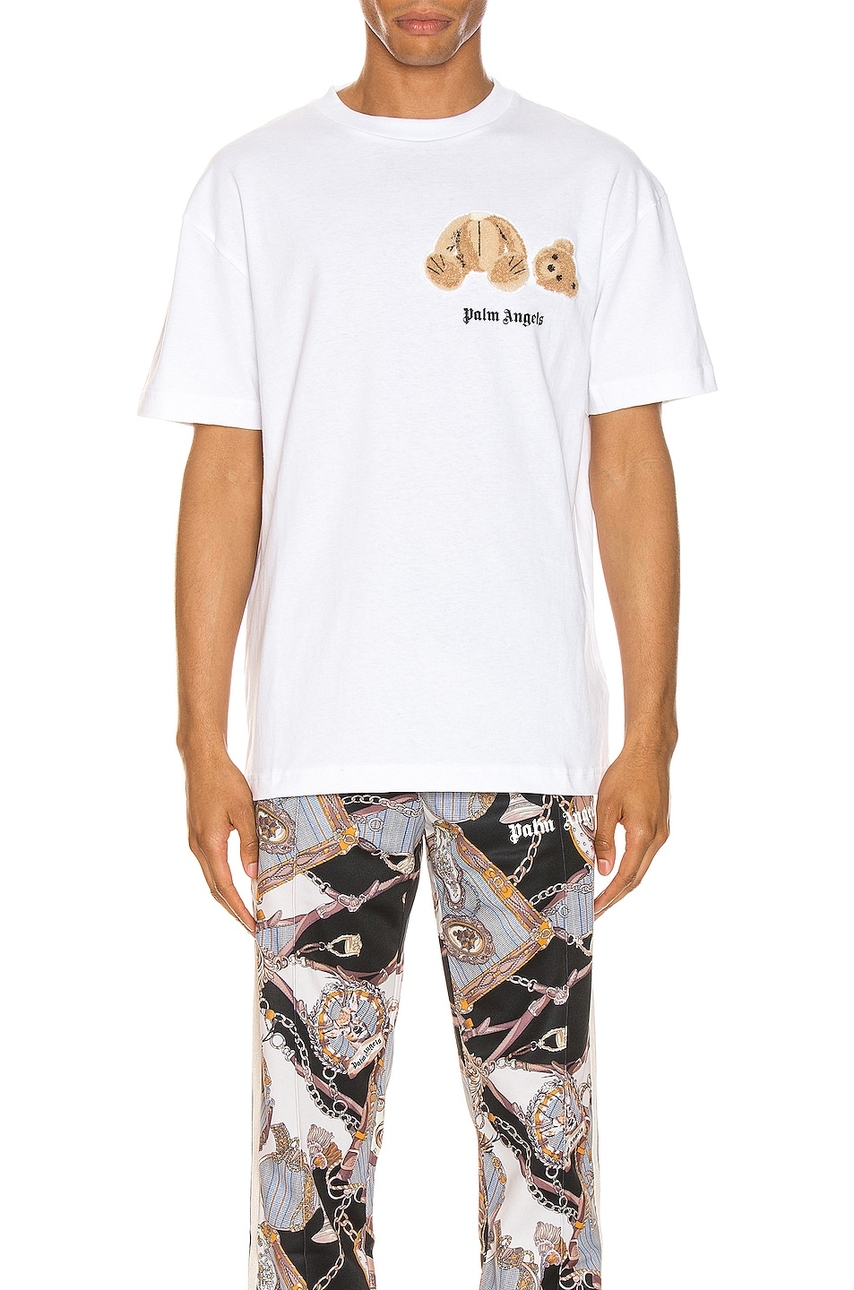 Image 1 of Palm Angels Mini Kill The Bear Tee in White & Brown