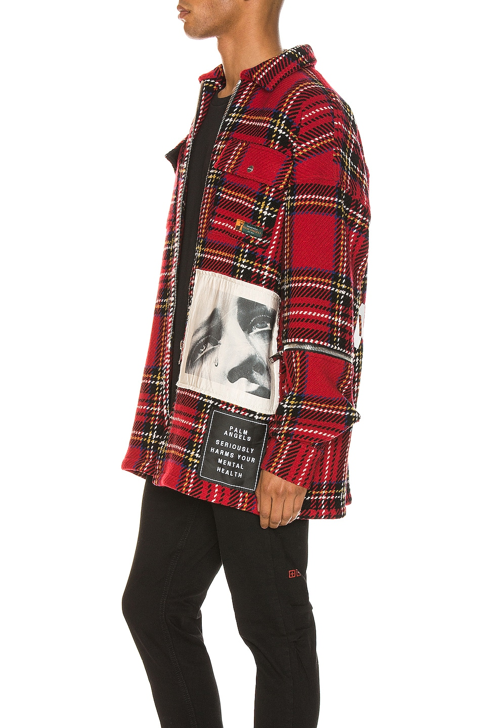 Image 4 of Palm Angels Checkered Overshirt in Multi