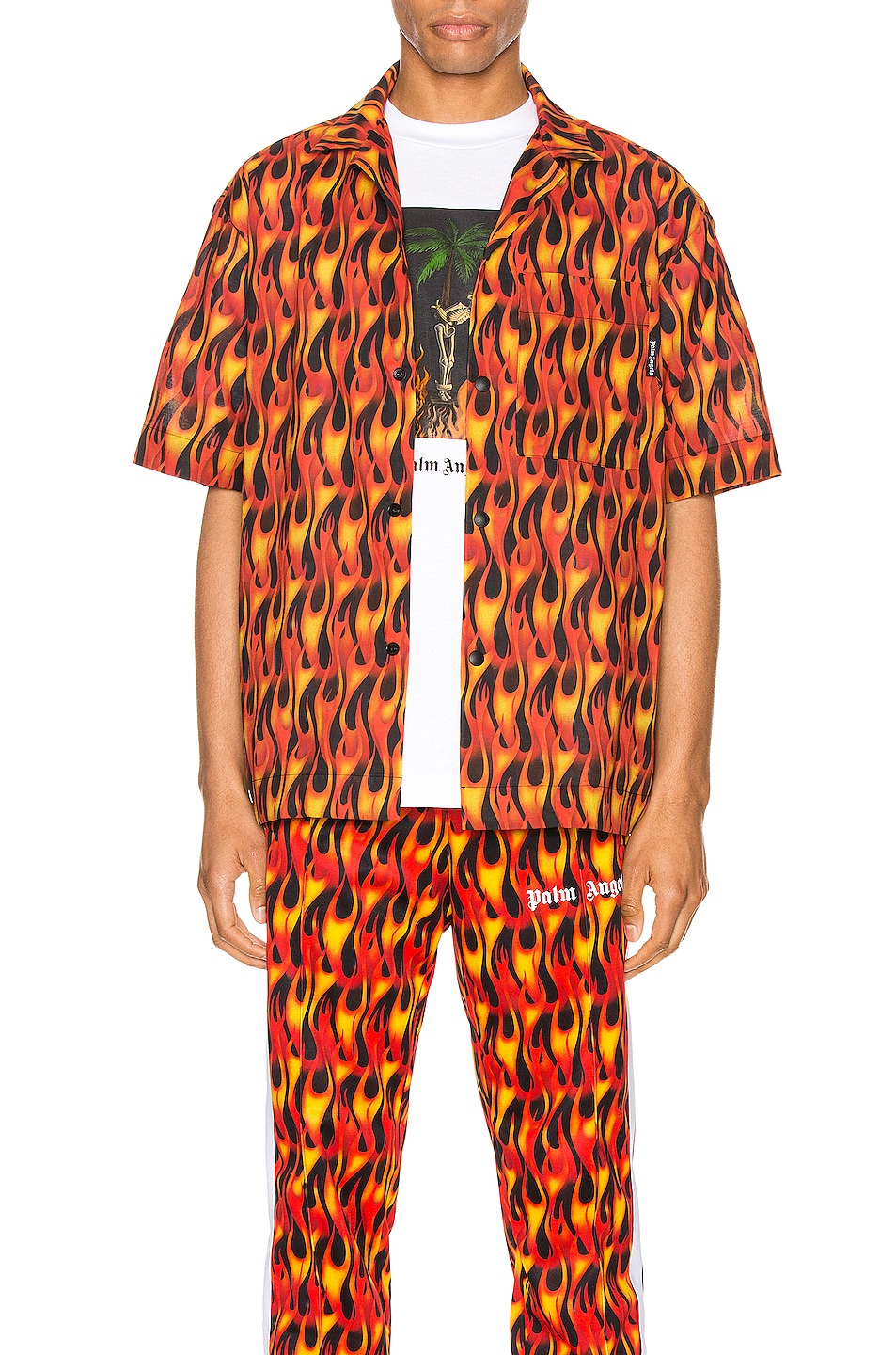 Image 1 of Palm Angels Burning Bowling Shirt in Black & Multi