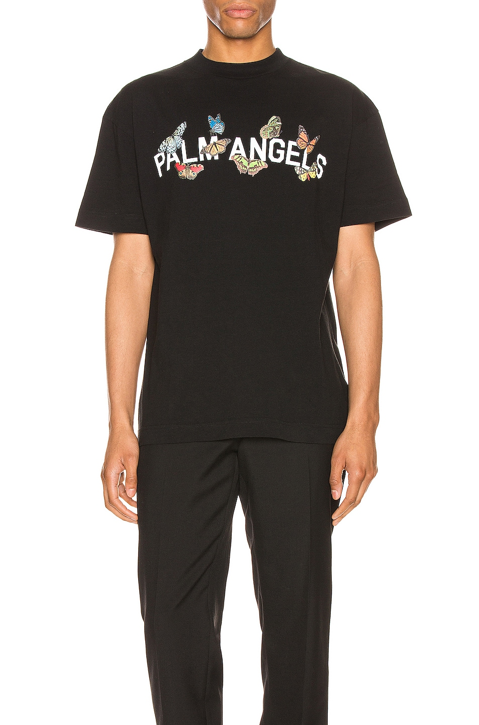 Image 1 of Palm Angels Butterfly College Tee in Black & White