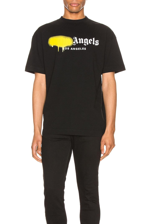Image 1 of Palm Angels LA Sprayed Logo Tee in Black & Yellow