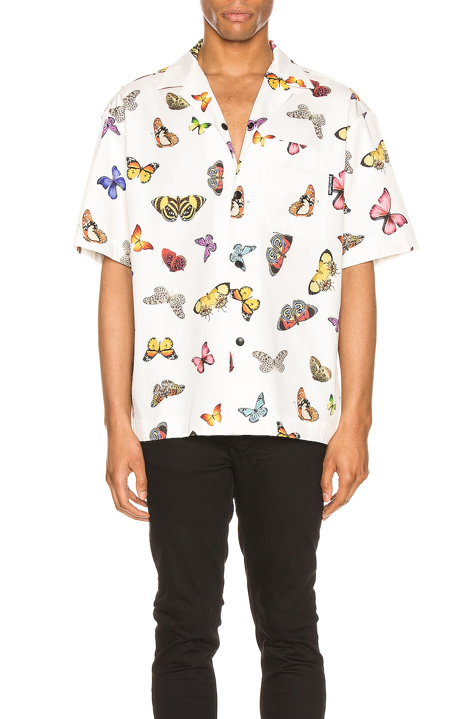 Image 1 of Palm Angels Butterflies Bowling Shirt in White & Multi