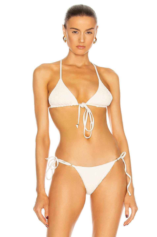 Image 1 of Palm Kya Bikini Top in Smocked Ivory