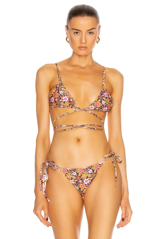 Image 1 of Palm Talise Bikini Top in Peony Print