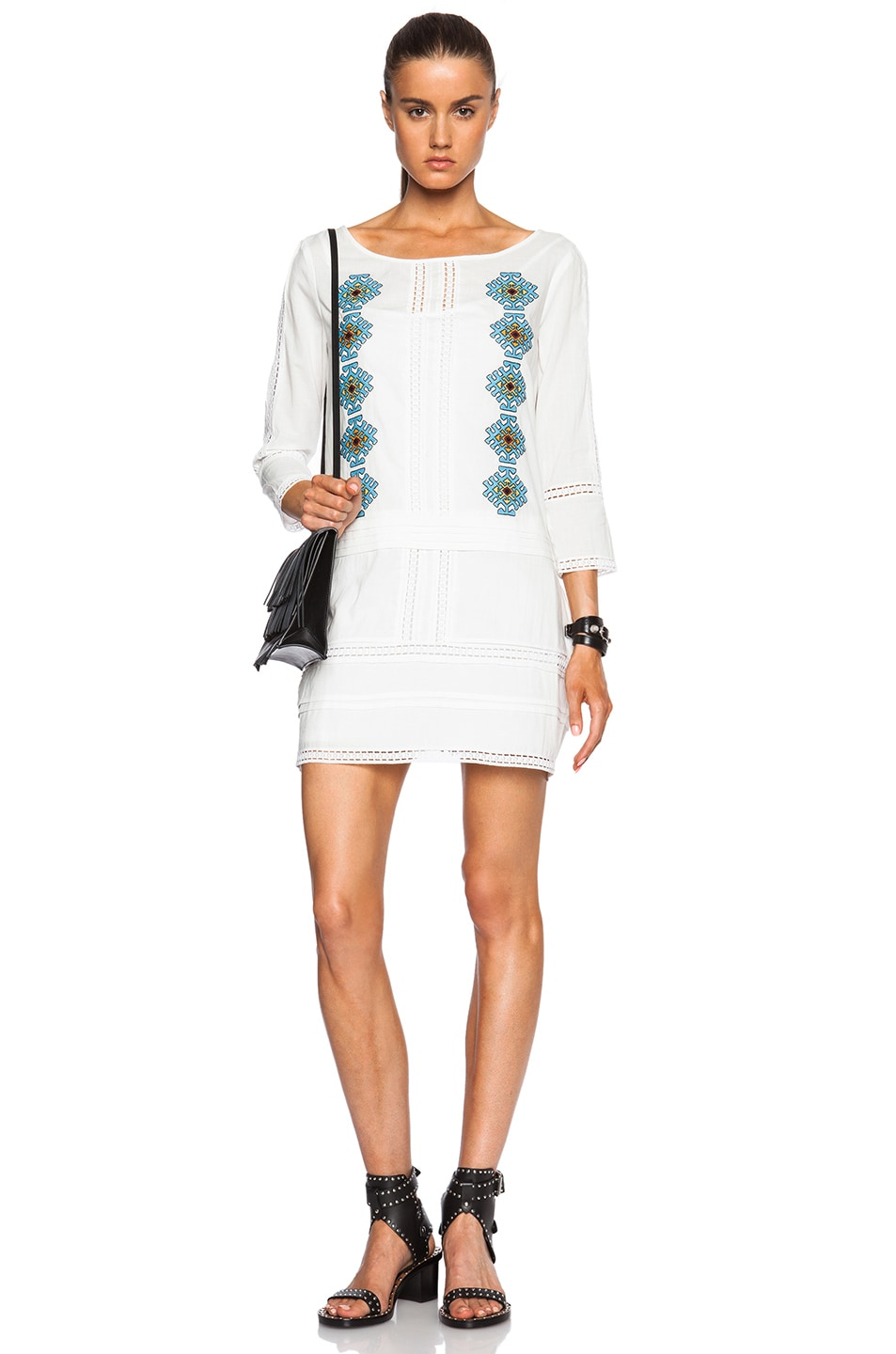 Image 1 of Pam & Gela Embroidered Dress in White